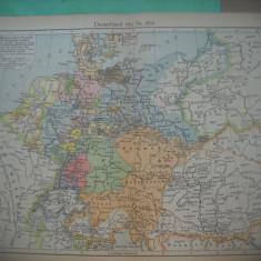 HOPCT DOCUMENT-HARTA VECHE NR 47 GERMANIA 1815-1866 -D=320/250 MM LEIPZIG 1918