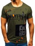 Tricou cu imprimeu bărbați verde Bolf KS1834
