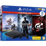 Consola SONY PlayStation 4 Slim (PS4 Slim) 1TB, Jet Black + 3 jocuri Horizon Zero Dawn, Uncharted 4, Gran Turismo Sport