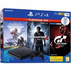 Consola SONY PlayStation 4 Slim (PS4 Slim) 1TB, Jet Black + 3 jocuri Horizon Zero Dawn, Uncharted 4, Gran Turismo Sport