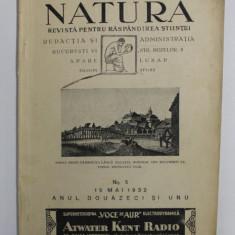 NATURA - REVISTA PENTRU RASPANDIREA STIINTEI , ANUL XXI , NO. 5 , 15 MAI , 1932