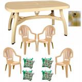 Set mobila gradina King masa 90x150 cm cu 4 scaune Milas culoare bej,4 perne scaun,Fata de masa 150x220cm B001163 Raki