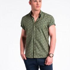 Camasa premium, cu maneca scurta, barbati - K473-verde-bej