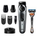 Aparat de tuns barba Braun BT7240, 39 setari lungime, trimmer pentru precizie, trimmer cu folie, aparat de ras Gillette Fusion5 ProGlide (Negru/Gri)