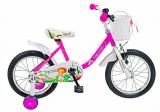 Bicicleta copii FIVE Tornadus 16 cadru otel culoare roz alb roti ajutatoare varsta 4 6 ani