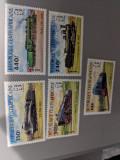 Rep Centrafricana - Timbre trenuri, locomotive, cai ferate, nestampilate, MNH, Nestampilat