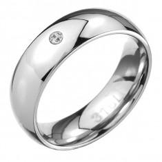 Inel din oțel - suprafață rotundă cu strălucire de oglindă, zircon mic transparent - Marime inel: 70