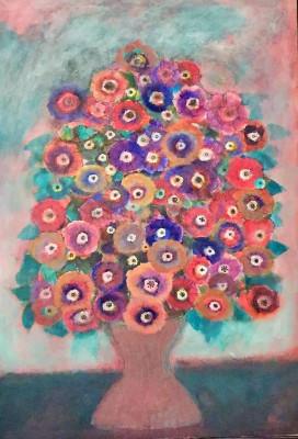 """Pictura Tablou Viorel Marginean """"Vaza cu flori """" foto"""