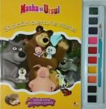 Masha și ursul. Să pictăm aventurile Mashei. Carte de colorat cu pensulă și acuarele