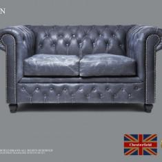 Canapea  din piele naturală-Vintage Negru-2 locuri  -Autentic Chesterfield Brand