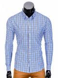 Camasa pentru barbati, alb-albastru, in carouri, slim fit, elastica, casual, cu guler - k387