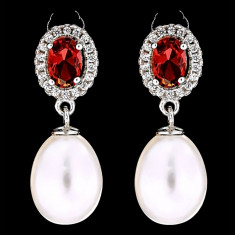 Cercei din Argint 925 cu Perle Naturale si Diamante, Priscilla