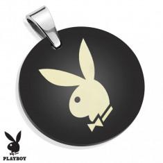 Pandantiv din oțel chirurgical, cerc negru lucios cu iepurașul Playboy