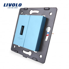 Priza USB Livolo, Albastru