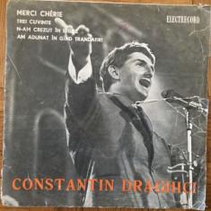 """Constantin draghici merci cherie trei cuvinte single 7"""" disc vinyl muzica usoara, VINIL, electrecord"""