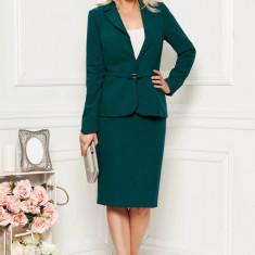 Compleu verde-inchis elegant din 2 piese cu fusta din stofa cu un croi cambrat