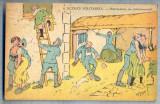 AX 73 CP VECHE INTERBELICA -UMORISTICA MILITARA -DISTRACTIE IN CANTONAMENT, Franta, Necirculata, Printata