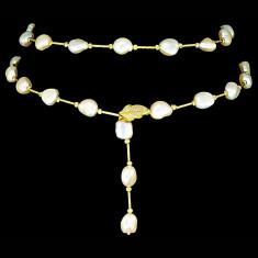 Colier din Argint 925 placat cu Aur 18K si Perle Naturale, Abriana Yellow Gold