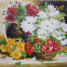 TABLOU / PICTURA FLORI SEMNAT CIMPOESU, Ulei, Realism