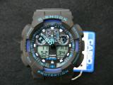CEAS SPORT CASIO G-SHOCK GA-100 BLACK&BLUE-NOU-BACKLIGHT-CALITATE PESTE PRET-, Quartz, Cauciuc