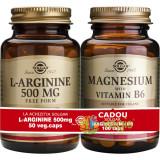 L-Arginine 500mg 50cps + Magnesium cu B6 100 tablete Pachet 1+1 Cadou