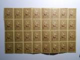Bloc de 32 timbre , 10 bani brun, tesatoarea, nestampilat