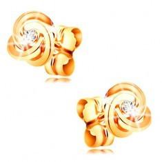 Cercei aur galben 585 cu diamant - trei noduri cu cercuri