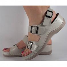 Sandale Ledi bej piele naturala cu platforma (cod 406-17)