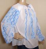 Ie romaneasca brodata manual , camasa populara  lucrata manual panza topita  L, Albastru