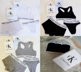 Set 3 piese lenjerie Calvin Klein bumbac boxeri tanga bustiera  , la oferta, Alb, Gri, Rosu, M, S
