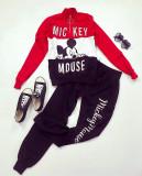 Trening dama lung ieftin negru cu rosu cu bluza si imprimeu MK scris