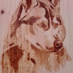 Husky - tablou pirogravat manual
