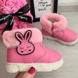 Cumpara ieftin Cizme roz imblanite cu iepuras f moi pt copii fetite bebe 18 20 22, Fete