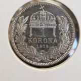 Ungaria 1 Korona - I. Ferenc József 1915, Ag. 835 UNC, Europa, Argint