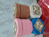 Cutii aranjamente trandafiri de săpun,hexagon  diametru 14/ h 11 cm
