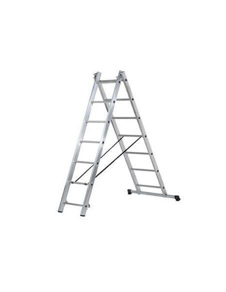 Scară pliabilă, 2 tronsoane, 2x7 trepte, lungime 2,05-3,15 m, CLT 2