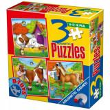 Puzzle Magnetic - Set 3 puzzle-uri Animale, D-Toys