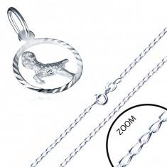 Lanț lucios și pandantiv realizat din argint - zale netede, model semn zodiacal Berbec
