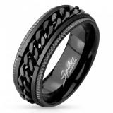 Inel din oțel, negru, margini canelate, lanț în mijloc - Marime inel: 70
