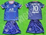 Compleu Echipament fotbal pentru copii JORDAN PSG NEYMAR ultimul model 2021-2022, YM, YS, YXL, YXS, YXXL, Tricou + Pantalon