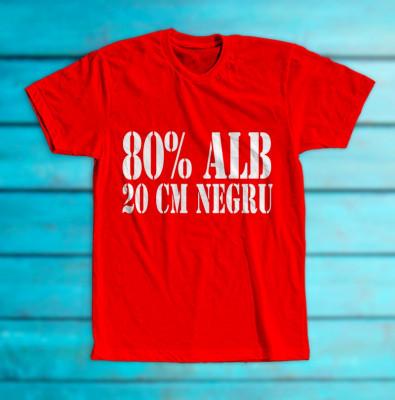 """Tricou """"80% alb"""" foto"""