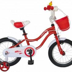 Bicicleta copii 14 FIVE Caterpie cadru otel culoare rosu alb roti ajutatoare varsta 3 5 ani