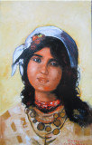 Tablou portret de tiganca semnat Cimpoesu dupa Grigorescu.