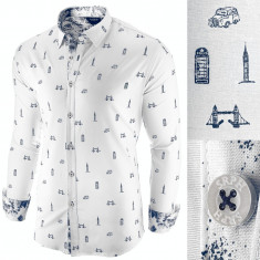 Camasa pentru barbati, alba, slim fit, casual - London Town Cool, 3XL, L, M, S, XL, XXL
