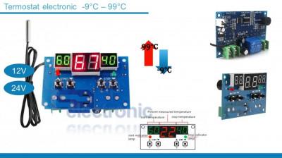 Termostat electronic 3 afisaje 12V foto
