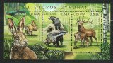 LITHUANIA 2017 FAUNA ANIMALE SALBATICE CERBI, IEPURI, VIEZURI, Nestampilat