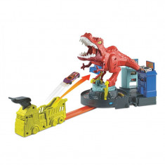 Lansator pentru masinute Hot Wheels T-Rex Rampage, masinuta inclusa, 5 ani+