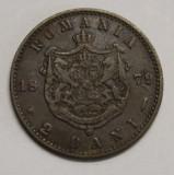 "2 BANI 1879 . ""D"" si ""L"" de la ""DOMNUL"" intrerupte ., Cupru (arama)"