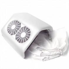 Aspirator - Colector Praf pentru unghii Profesional Alb cu 2 Ventilatoare