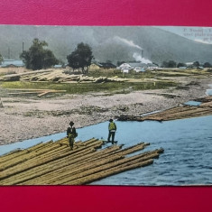 Piatra Neamt Vederea unei plute ancorate pe Bistrita